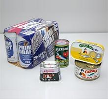 川商フーズが販売する「ノザキのコンビーフ」や、GEISHAブランドの缶詰、韓国のHITE社製の第3のビール「PRIME DRAFT」
