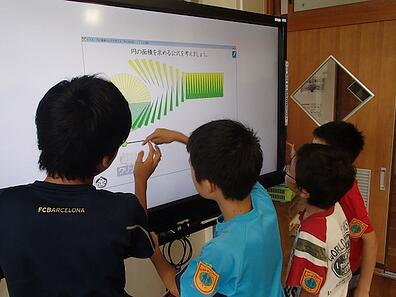 三島市立佐野小学校で、電子黒板「xSync Board」を利用した授業の様子