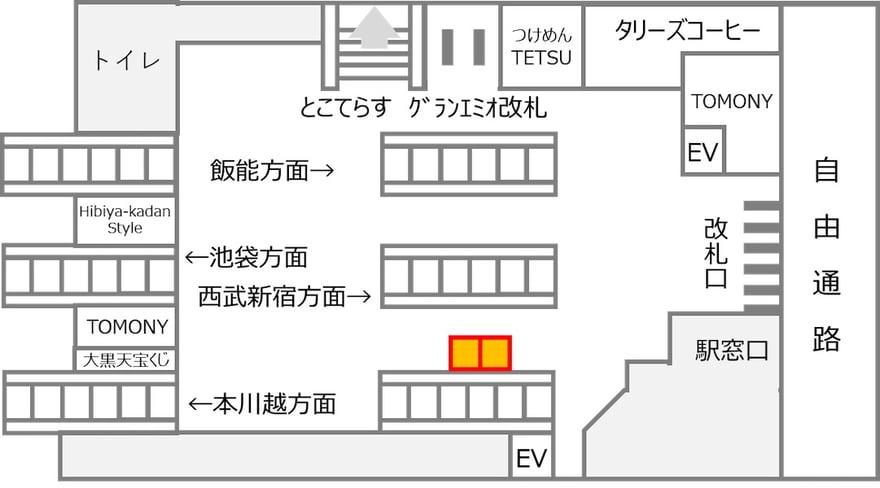 所沢駅における設置場所