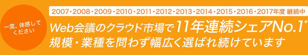 Web会議のクラウド市場で11年連続シェアNo.1。規模・業種を問わず幅広く選ばれ続けています。