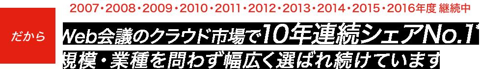 Web会議のクラウド市場で10年連続シェアNo.1 規模・業種を問わず幅広く選ばれ続けています
