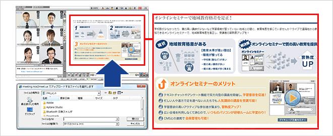 Microsoft Word、Excel、 PowerPoint、PDFファイルや各種画像ファイル(gif、jpgなど)をWeb会議の資料として共有することができます。