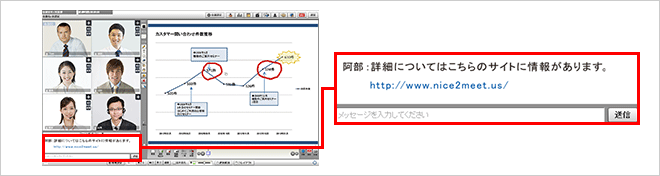 URLを入力すると、自動でリンク設定を行います(そのURLをクリックするとサイトが別ウィンドウで開きます)。