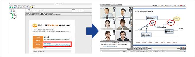 招待された場合は、送信されたメールに記載してあるURLにアクセスするだけでWeb会議に参加できます。