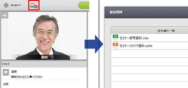 配布資料アイコンをクリックすると、ダウンロードできる資料が表示されます。